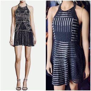 Parker Leona Beaded Striped Halter Dress